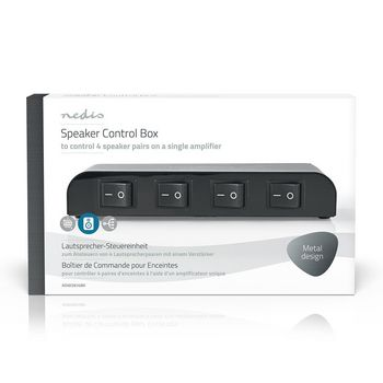 Speaker Control Box | 4-Way | Screw Clamp | Black