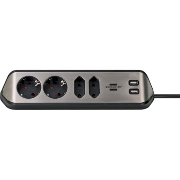Extension socket Desktop-Power 4-Vei 2.00 m Sølv - Beskyttende Kontakt