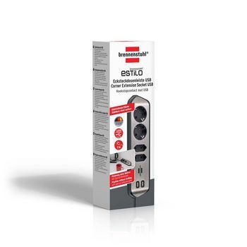Extension socket Desktop-Power 4-Vei 2.00 m Sølv - Beskyttende Kontakt |