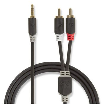 Stereo Audio Cable | 3.5 mm Male - 2x RCA Male | 1.0 m | Anthracite