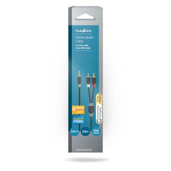 Câble Audio Stéréo | 3,5 mm Mâle - 2x RCA Mâles | 2,0 m | Anthracite