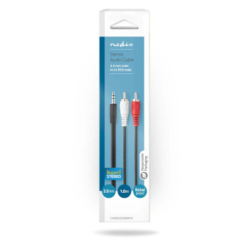 Stereo Audio Cable | 3.5 mm Male - 2x RCA Male | 1.0 m | Black