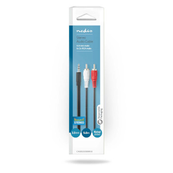 Stereo Audio Cable | 3.5 mm Male - 2x RCA Male | 5.00 m | Black