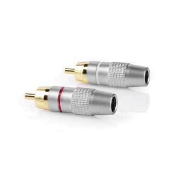 Stereo Connector RCA   Male   Metal   Silver