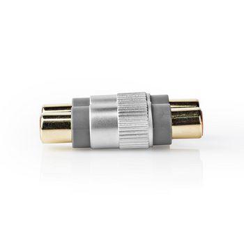 Adapter 2x RCA Female - 2 RCA Female | Metal | Silver
