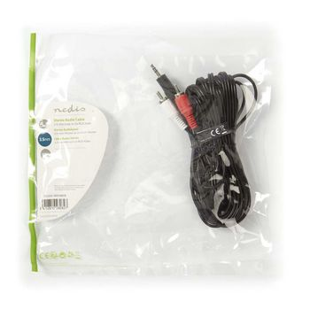 Stereo Audio Cable   3.5 mm Male - 2x RCA Male   5.0 m   Black