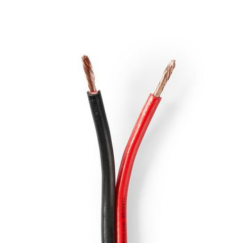 Speaker-Kabel | 2x 2,50 mm2 | 100 m | Folieverpakking | Zwart/Rood