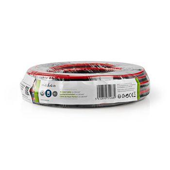Câble de Haut-Parleur | 2x 2,50 mm2 | 15,0 m | Gaine | Noir/Rouge