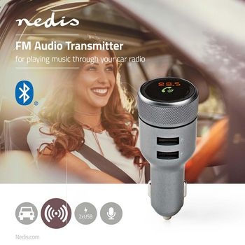 Car FM Transmitter | Bluetooth® | Hands-Free Calling | 2x USB
