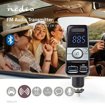 Car FM Transmitter | Bluetooth® | Pro Microphone | Noise Cancelling | MicroSD Card Slot | Hands-Free Calling | Voice Control | USB Type-C™ PD 18W / USB