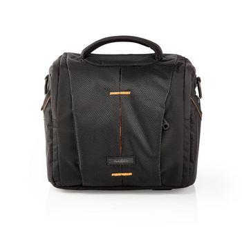 Camera Shoulder Bag | 220 x 190 x 120 mm | 3 Inside pockets | Black / Orange