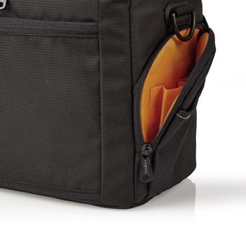 Camera Shoulder Bag | 250 x 210 x 170 mm | 3 Inside pockets | Black / Orange