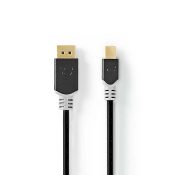 Mini DisplayPort Cable | DisplayPort 1.4 | Mini DisplayPort Male | DisplayPort Male | 48 Gbps | Gold Plated | 2.00 m | Round | PVC | Anthracite | Window Box