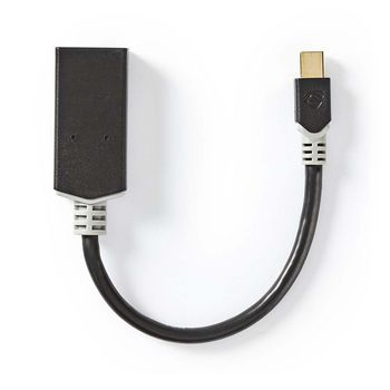 Mini câble Display Port | DisplayPort 1.4 | Mini DisplayPort mâle | Sortie HDMI ™ | 48 Gbps | Plaqué or | 0.20 m | Rond | PVC | Anthracite | boite Window