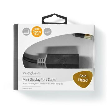 Mini DisplayPort-Kabel | DisplayPort 1.4 | Mini-DisplayPort Male | HDMI™ Output | 48 Gbps | Verguld | 0.20 m | Rond | PVC | Antraciet | Window Box