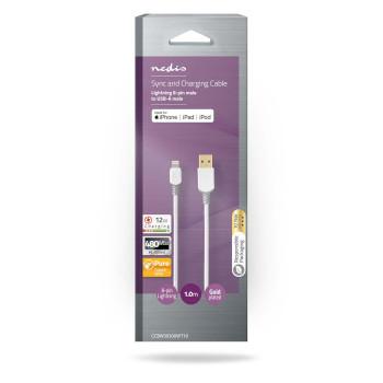 Cavo per la sincronizzazione e la ricarica | Apple Lightning 8 pin maschio - USB A maschio | 1.0 m | Bianco