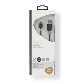 USB 2.0 Cable | A Male - Micro B Male | 1.0 m | Anthracite