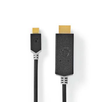 USB-adapter | USB 3.2 Gen 1 | USB Type-C™ Han | HDMI™ Stik | 1.00 m | Runde | Guldplateret | PVC | Anthracite | Window Box