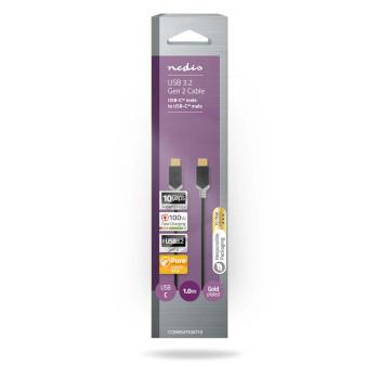 USB 3.1-kabel (Gen2) | Typ-C, hane - Typ-C, hane | 1.0 m | Antracit