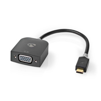 USB-Adapter | USB 3.2 Gen 1 | USB Type-C™ Male | VGA Female 15p | 0.20 m | Rond | Verguld | PVC | Antraciet | Window Box met Euro Lock