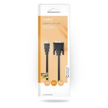 HDMI™- DVI-Kabel | HDMI™-Connector - DVI-D 24+1-Pins Male | 3,0 m | Zwart