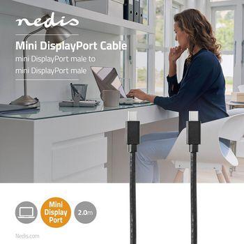 Mini-DisplayPort - Mini-DisplayPort-Kabel | Mini-DisplayPort Male - Mini-DisplayPort Male | 2,0 m | Zwart