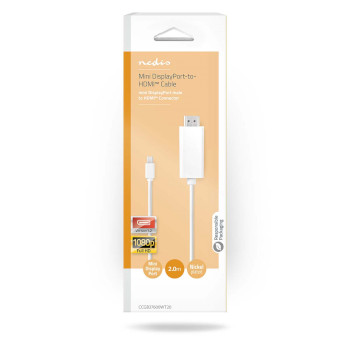 Mini DisplayPort - HDMI Cable | Mini DisplayPort Male - HDMI Connector | 2.0 m | White