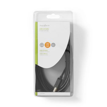 USB 2.0 Cable | A Male - B Male | 5.0 m | Black