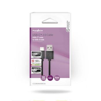 USB 2.0-Kabel | Type-C Male - A Male | 3,0 m | Zwart
