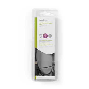 2-in-1 Sync and Charge Cable | USB A Male - USB Micro B / Type-C Male | 1.0 m | Black