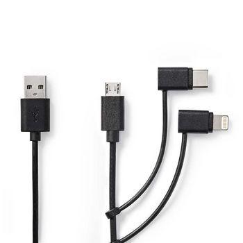 Cavo 3-in-1 per sincronizzazione e ricarica | USB A maschio - Micro B maschio / Tipo C maschio / Lightning a 8 pin | 1.0 m | Nero