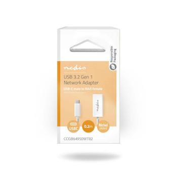 USB Type-C Adapter Cable | Type-C Male - RJ45 (8P8C) Female | 0.2 m | White