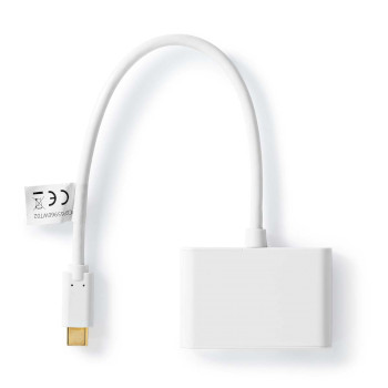 USB-C 3.0 Adaptér | USB-C Zástrčka - 2x USB-A Zástrčka | 0,2 m