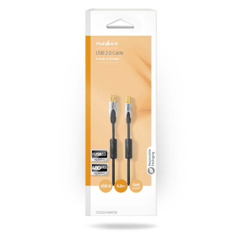 USB 2.0 Cable | A Male - B Male | 5.0 m | Anthracite