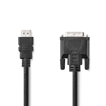 HDMI™ - DVI-kabel | HDMI™-connector - DVI-D 24+1-pins male | 2,0 m | Zwart