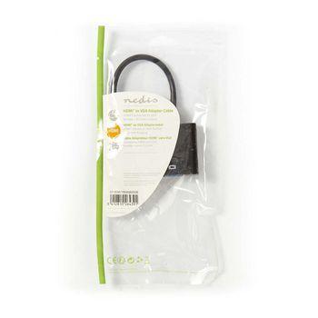 HDMI™ - VGA Kábel | HDMI™ Csatlakozó - VGA Aljzat + 3,5 mm-es kimenet | 0,2 m | Fekete