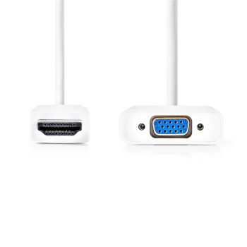 HDMI™ - VGA Cable   HDMI™ Connector - VGA Female + 3.5 mm output   0.2 m   White
