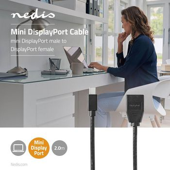 Mini-DisplayPort - DisplayPort-Kabel | 1.4 | Mini-DisplayPort Male - DisplayPort Female | 0,2 m | Zwart