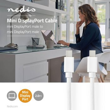Mini-DisplayPort - Mini-DisplayPort-Kabel | Mini-DisplayPort-Hann - Mini-DisplayPort-Hann | 2,0 m | Hvit