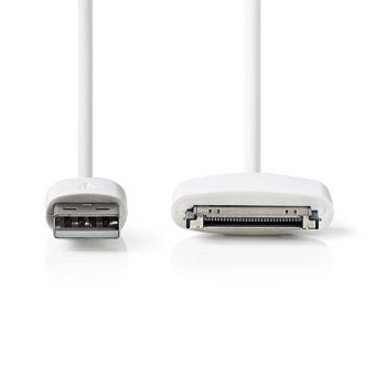 Synkroniserings- og ladekabel | Apple-dokk, 30-pinners, Hann - USB-A, hann | 1,0 m | Hvit