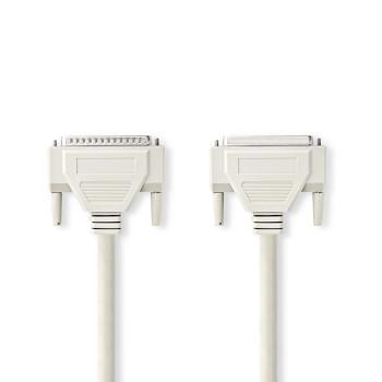 Kabel RS232 | D-Sub 25-pin Zástrčka - D-Sub 25-pin Zásuvka | 2 m | Slonovinová