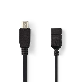 USB 2.0 On-the-go Cable | Mini 5-pin Male - A Female | 0.2 m | Black