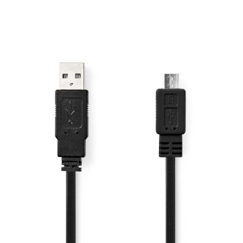 USB 2.0 Flat Cable | A Male - Micro B Male | 1.0 m | Black