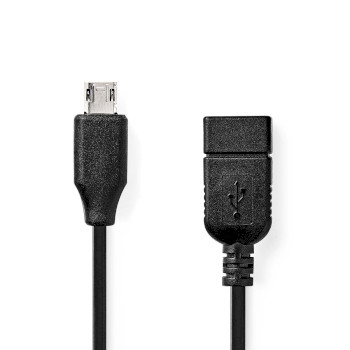 USB 2.0 On-the-go Cable | Micro B Male - A Female | 0.2 m | Black