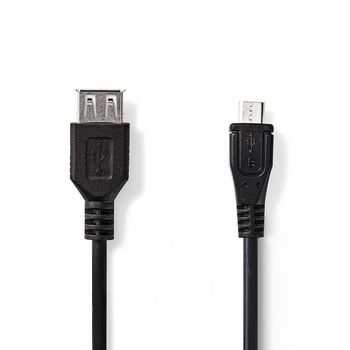 USB 2.0 Cable | Micro B Male - A Female | 0.2 m | Black