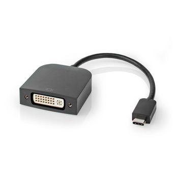 Adaptateur USB | USB 3.2 Gen 1 | USB Type-C™ Mâle | DVI-D 24 + 1 broches femelle | 0.20 m | Rond | Plaqué nickel | PVC | Noir | Sac en plastique