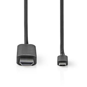 USB-Adapter | USB 3.2 Gen 1 | USB Type-C™ Male | HDMI™ Connector | 1.00 m | Rond | Vernikkeld | PVC | Zwart | Window Box