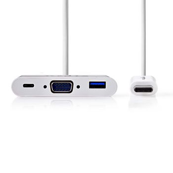 USB Type-C Adapter Cable   Type-C Male - USB A Female + Type-C Female + VGA Female   0.2 m   White