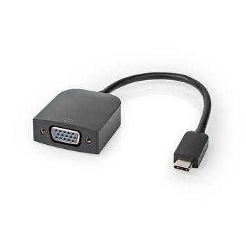 USB-Adapter | USB 3.2 Gen 1 | USB-Typ-C ™ Stecker | VGA Buchse | 5 Gbps | 0.20 m | rund | Vernickelt | PVC | Schwarz | Plastikbeutel