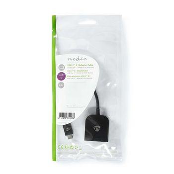 USB-Adapter | USB 3.2 Gen 1 | USB Type-C™ Male | VGA Female 15p | 5 Gbps | 0.20 m | Rond | Vernikkeld | PVC | Zwart | Polybag